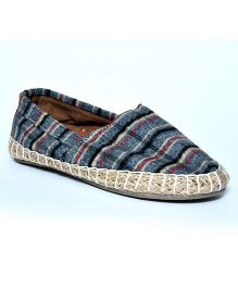 Teddy Toes Plaid Print Espadrilles - Grey