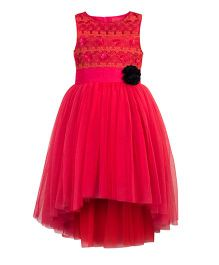 Toy Balloon Kids Embroidered Girls party Dress - Coral