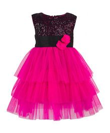 Toy Balloon Kids Sequince with Frills Girls Party Dress - Pink