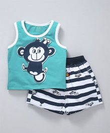 Wow Clothes Sleeveless Tee & Shorts Monkey Patch - Teal Blue
