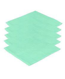 Lula Reusable Muslins Squares Pack of 5 - Green