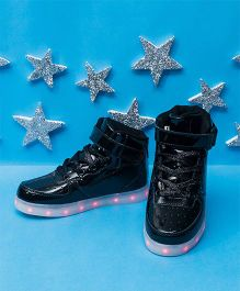 Pre Order - Little Maira High Top LED Shoes - Black