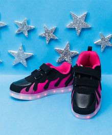 Pre Order - Little Maira Flame Design USB LED Shoes - Pink & Black