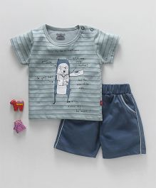 Mini Taurus Half Sleeves Striped Animal Print T-Shirt & Shorts - Blue