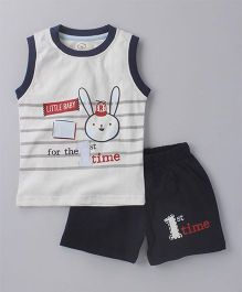 Olio Kids Sleeveless Tee And Shorts Bunny Print - White Navy Blue