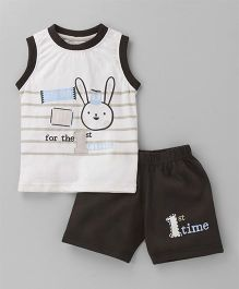 Olio Kids Sleeveless Tee And Shorts Bunny Print - White Brown