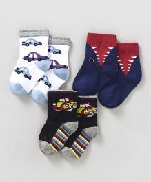Mustang Ankle Length Socks Multi Design Pair of 3 - White & Navy