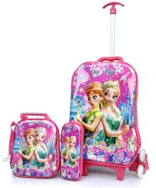 Baby Oodles Trolley School Bag Combo Disney Frozen Theme Pink - 18.8 inches