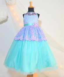 Tutus By Tutu Embroidered Rose Gown - Turquoise & Purple