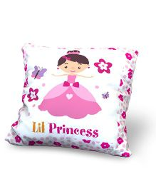 Baby Oodles Cushion With Inner Filler Lil Princess Print - Pink