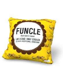 Baby Oodles Cushion With Inner Filler Funcle Print - Yellow