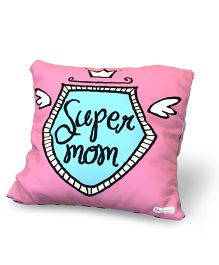Baby Oodles Cushion With Inner Filler Super Mom Print - Pink