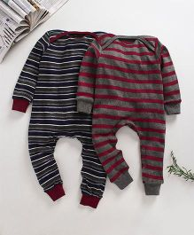 Kadam Baby Striped Rompers - Set of 2 - Maroon And Blue
