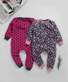 Kadam Baby Dots And Butterfly Print Bodysuits - Set of 2 - Pink