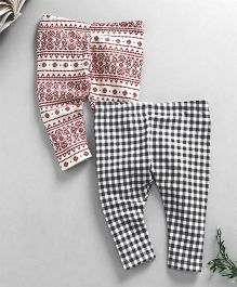 Kadam Baby Check legging - Black And Maroon