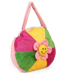 Funzoo Plush Shoulder Bag Flower Applique - Pink Green Yellow