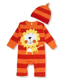 Superfie Lion Print Stripe Romper With Cap - Red & Yellow