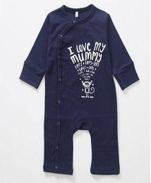 Superfie Mummy Love Quote Print Side Front Open Romper - Navy Blue