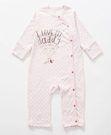 Superfie Daddy Love Quote Print Side Front Open Romper - Pink