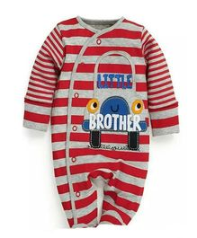 Superfie Little Brother Stripe Printed Side Front Open Romper - Red & Grey