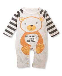Superfie Bear Hug Print Stripe Raglan Romper - Grey & Orange