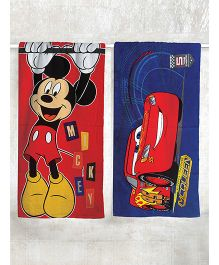 Disney Cars & Mickey Mouse Printed Bath Towel Pack of 2 - Red Blue