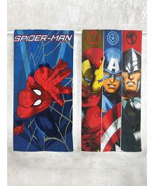 Marvel Spider Man & Avengers Printed Bath Towel Pack of 2 - Blue & Multi Color