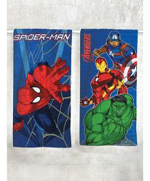 Marvel Spider Man & Avengers Printed Bath Towel Pack of 2 - Blue