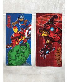 Marvel Avengers & Iron Man Printed Bath Towel Pack of 2 - Blue Green Red