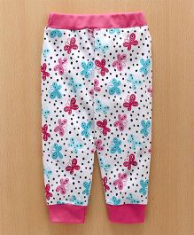 Babyhug Full Length Lounge Pant Butterfly Print - Dark Pink