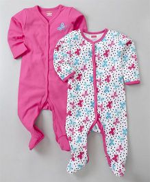 Babyhug Full Sleeves Sleepsuit Butterfly Print Pack of 2 - Pink