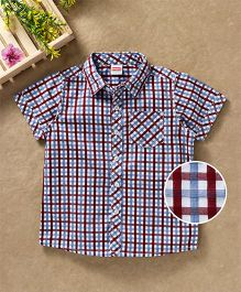 Babyhug Half Sleeves Checks Shirt With Pocket - Red