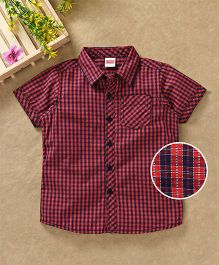 Babyhug Half Sleeves Checks Shirts - Red