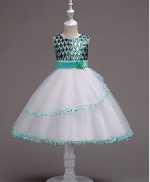 Pre Order - Wonderland Diamond Shaped Sequined Bodice Frilled Dress - Green