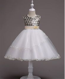 Pre Order - Wonderland Diamond Shaped Sequined Bodice Frilled Dress - Champagne