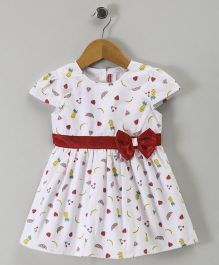 Babyhug Cap Sleeves Frock With Bow Applique Fruits Print - Off White Red