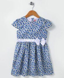 Babyhug Cap Sleeves Frock With Bow Applique Floral Print - Blue