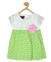 Pspeaches Lace Dress - White & Green