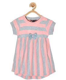 Pspeaches Striped Dress With Bow - Pink & Grey