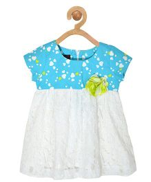 Pspeaches Heart Print Dress With Lace - Blue & White