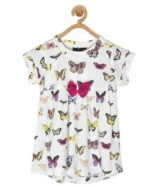 Pspeaches Butterfly Print Dress - White