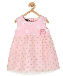 Pspeaches Floral Print Net Dress - Baby Pink