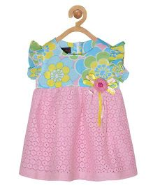 Pspeaches Floral Design Lace Dress - Pink