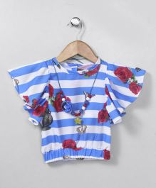 Little Kangaroos  Party Wear Flutter Sleeves Stripe Top With Necklace - Blue White