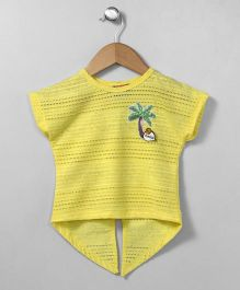 Little Kangaroos Short Sleeves Top Sequin Tree Patch - Yellow