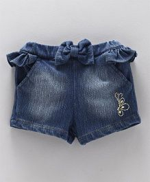 Little Kangaroos Denim Shorts With Bow Applique - Blue