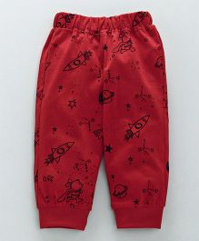 Little Kangaroos Full Length Lounge Pant Rocket Print - Red