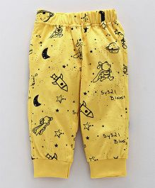 Little Kangaroos Full Length Lounge Pant Rocket Print - Yellow