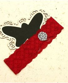 D'Chica Lace Headband With Pearls - Red