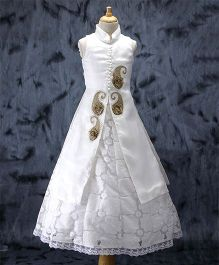 Enfance Lace & Embroidered Jacket Style Gown - White